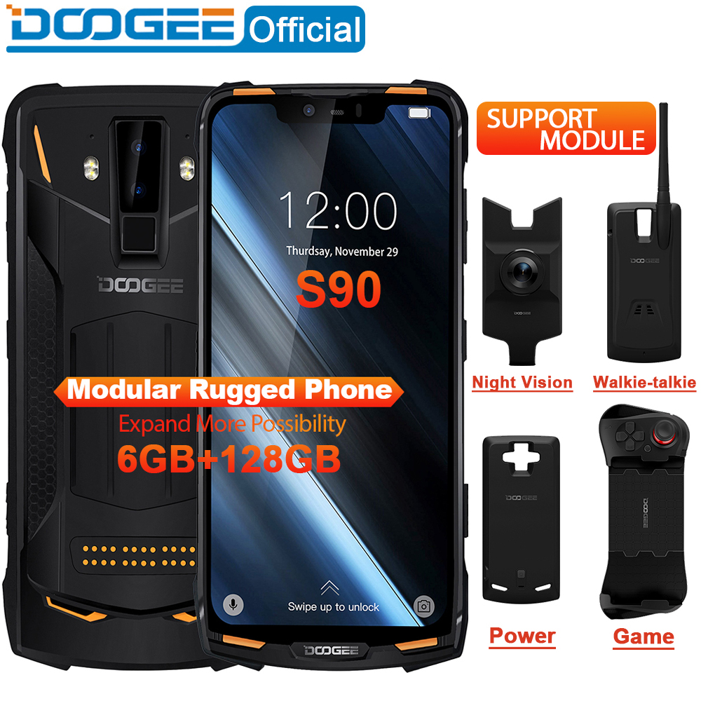 IP68/IP69K DOOGEE S90 téléphone Mobile robuste modulaire 6.18 pouces affichage 5050mAh Helio P60 Octa Core 6GB 128GB Android 8.1 16.0M Cam