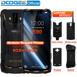 Ip68/ip69k doogee s90 modular áspero telefone celular 6.18 polegada display 5050 mah helio p60 octa núcleo 6 gb 128 gb android 8.1 16.0 m cam