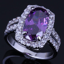 Clean Oval Purple Cubic Zirconia White CZ 925 Sterling Silver Ring For Women V0645