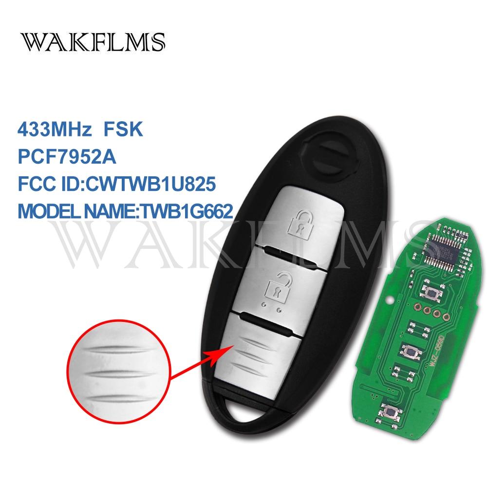 2 Button Smart Remote Key 433MHz Fob For Nissan Micra Juke Note Leaf Cube 2009 2012 2013-2016 PCF7952A Chip CWTWB1U825 TWB1G662