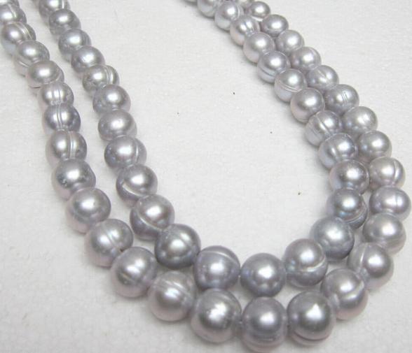 Magnifique collier ras du cou 33 pouces AAA 11-13mm perle de tahiti baroque grise