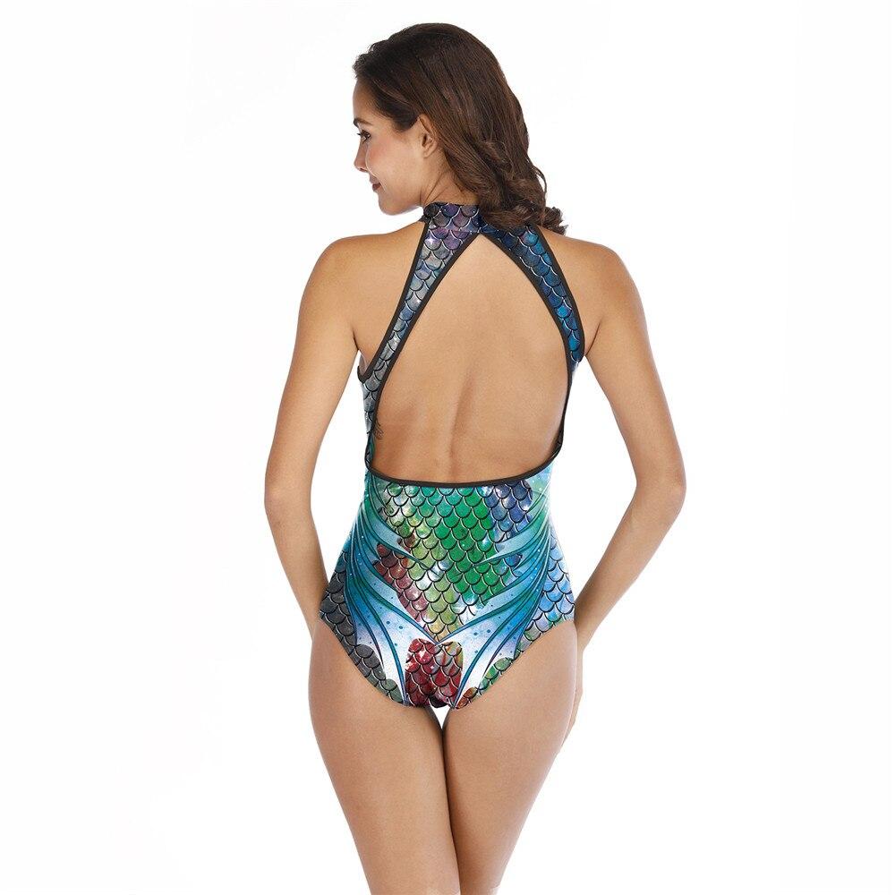 FCCEXIO 2019 New Tankini Plus Size Mermaid Fish Scale Printed Bodysuit Women Sexy Bathing Suit Backless Monokini Halter Swimsuit