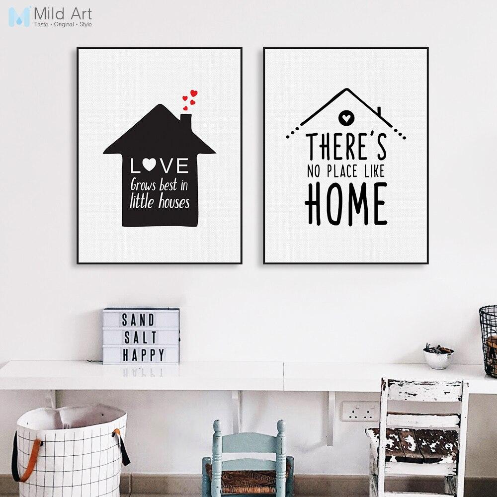 Černá Bílá Minimalistický Dům Rodinná Láska Quote Plakát Nordic Dětská Místnost Umělecká Obrazová Obrazová Dekorativní Malba No Frame