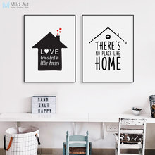 Black White Minimalist House Family Love Quote Poster Print Nordic Kids Room Wall Art Picture Home Deco Canvas Painting No Frame(China)