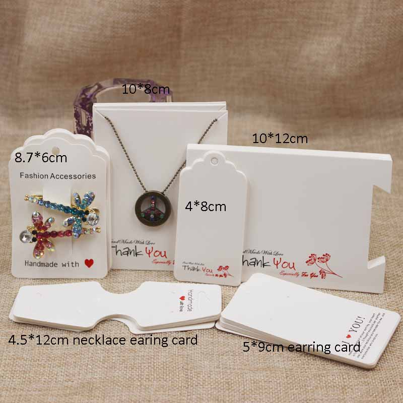 Zerong Jewelry 100pcs Kraft Handmade With Love Jewelry Cards,Necklace/Earring/Hairpin/Pendant/bracelet Packing Cards,tag Card