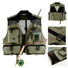 New L size Multi-pocket Fishing Vest Fishing Suit with Mesh Fly Vest Light-weight Breathable Fly Fishing Tackle Accessories