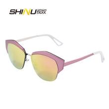Nova moda óculos de sol feminino marca designer óculos de sol redondo metal multi pontos cor 8196