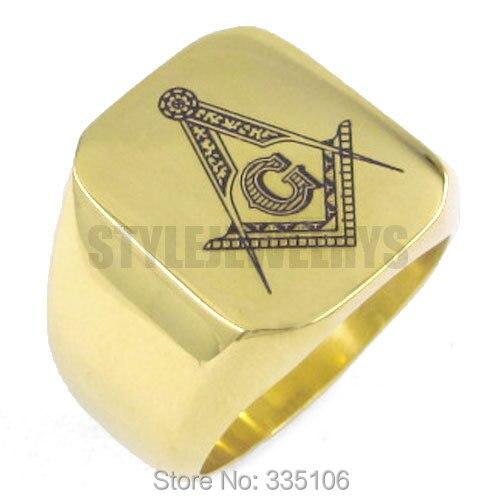Doprava zdarma! Zlaté zednářské prsteny z nerezové oceli Šperky - Bižuterie
