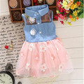 2016 NEW summer Baby Girls Kids Princess denim Dress girl's dresses child's clothing Girls LaceLapel denim  Dress