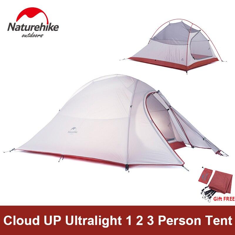 Naturetrekking tente Camping tente ultralégère 1 2 3 personne homme 4 saisons Double couches aluminium Rod extérieur voyage plage tente avec tapis