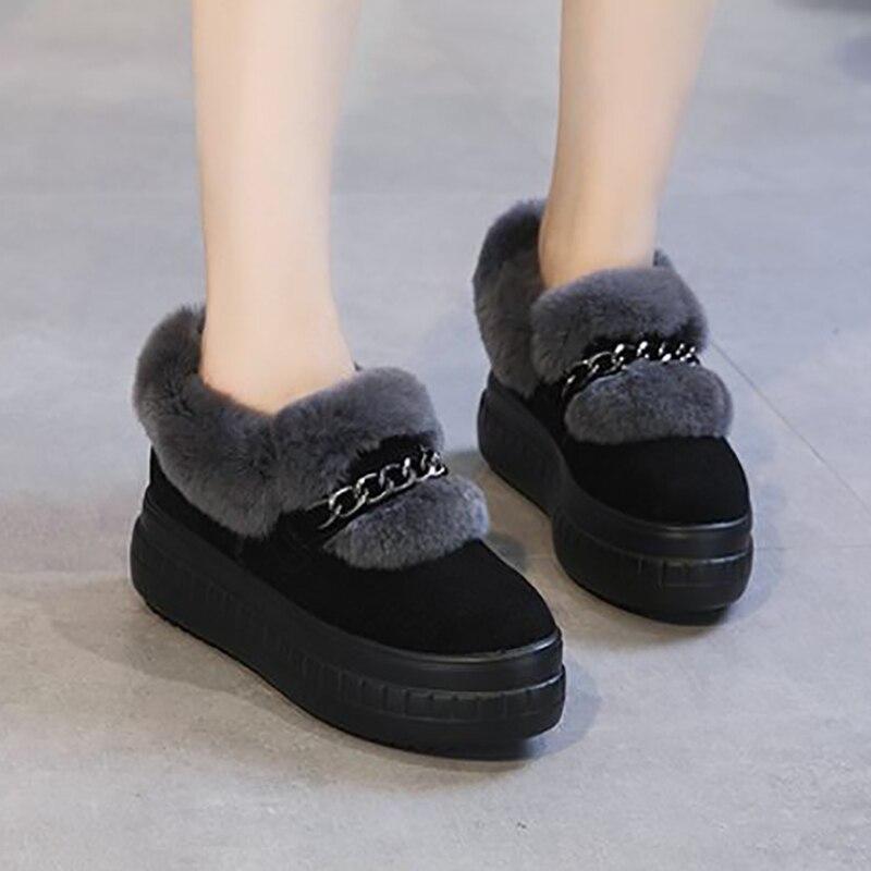 الأرنب الفراء الشقق النساء الأحذية منصة الشتاء الأحذية رقيق أزياء السيدات قطيع حذاء كاجوال جلد طبيعي أسود غامض الشقق-في أحذية نسائية مسطحة من أحذية على  مجموعة 1