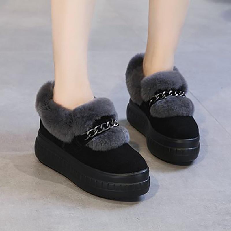 Rabbit Fur Flats Women Shoes Platform Winter Shoes Fluffy Fashion Ladies Flock Casual Shoes Black Genuine   Leather   Fuzzy Flats