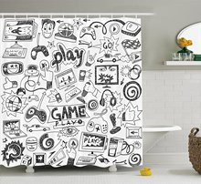 Video Games Shower Curtain Set Black and White Sketch Style Gaming Design Racing Monitor Device Gadget Teen 90's