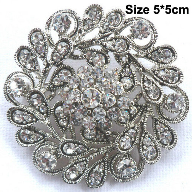 Express Free Shipping 60PCS LOT Wholesale Cheap Brooches Vintage Silver Tone Stunning Rhinestone Crystal Flower Brooch