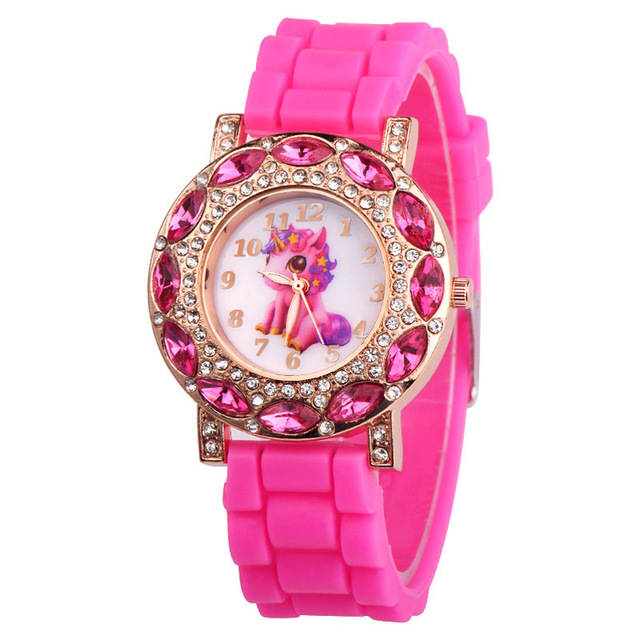 Lovely Pink Unicorn Children Wrist Watches Diamond Cartoon Leather Strap Kids Qu