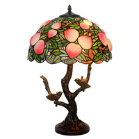 Vintage Stained Glass Tiffanylamp Art Deco,Office Salon Hotel Restaurant Bar Cafe Front Desk Medium Bird Table Lamp Decorative