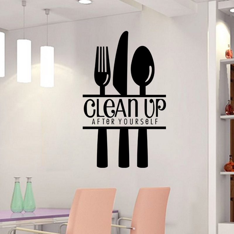 3D Wallpapers English Letters Clean Up Kitchen Restaurant Wall Stickers Living Room Office