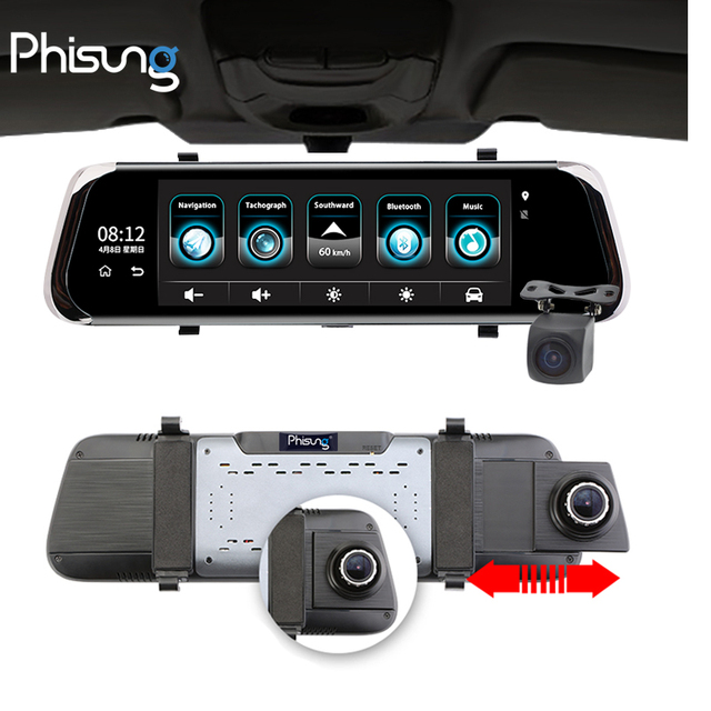 "Phisung E08 plus Car DVR 10""IPS Touch 4G Mirror DVR Android ADAS GPS FHD 1080P WIFI auto registrar rear view mirror with camera"