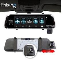 """Phisung e08 plus dvr para carro, 10 """"ips touch 4g dvr, android, adas, gps, fhd 1080p, wi fi registrar automobilístico espelho de visão traseira com câmera"""
