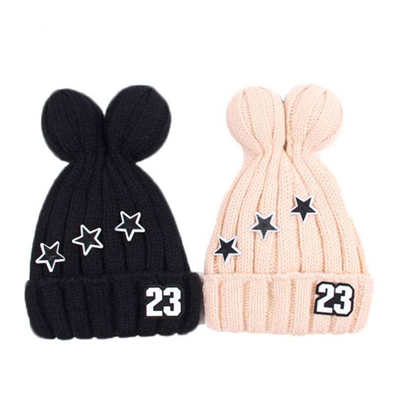 2017 Autumn Winter New Children Cotton Hat Baby Plus Cashmere Warm Beanie Fashion Patch 23 Stars Caps Boys and Girls Knitted Hat new fashion autumn winter children hat cartoon cat tassel baby beanie hat kids wool cap head cap boys and girls warm thicken hat