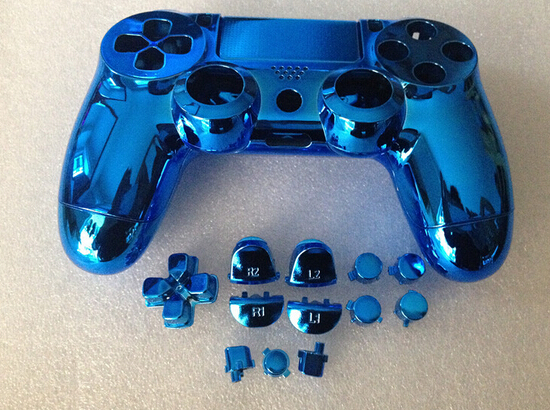 US $13 99 |free shipping Custom blue color for PS4 Controller Hydro Dipped  metal Chrome blue Shell Full Mod Kit with all small parts-in Cases from