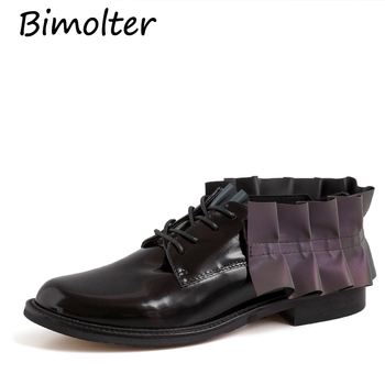 Bimolter Women Shoes Cowhide Fashion Ruffles Handmade Genuine Leather Shoes Vintage Casual Shoes Woman Flats Loafers Shoes FC109