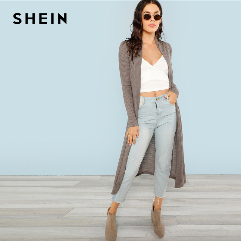 d4dc1f05ff10 SHEIN Blossom Embroidered Bishop Sleeve Cardigan Autumn Collarless Long  Sleeve Women Tops Fashion Longline Cardigan-in Cardigans from Women's  Clothing on ...