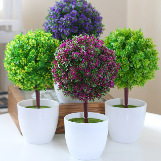 Artificial Flower Potted Bonsai Set Fake Flower Plant Pine Trees