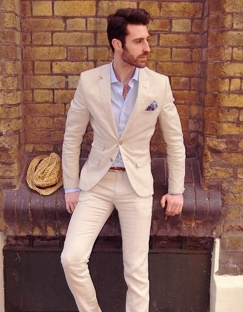 0a72845868b 2017 Latest Coat Pant Designs Creamy White Linen Men Suit Beach Slim Fit  Custom Summer Simple Jacket Men Tuxedo 2 Piece Terno 25