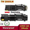 High-quality Mini LED Flashlight Zoom Black CREE 2000LM Waterproof LED Laterna 3 Modes Zoomable LED Torch penlight AA 14500