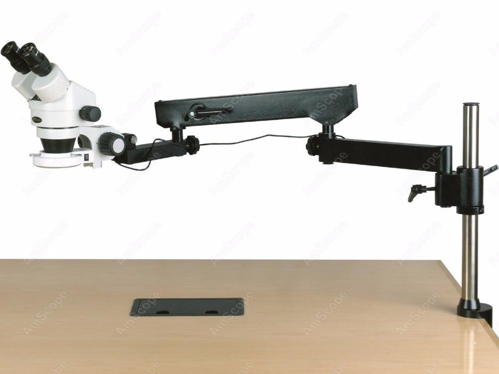 Braccio articolato microscopio-amscope forniture 3.5x-180x binoculare braccio snodato pilastro morsetto led zoom microscopio stereo