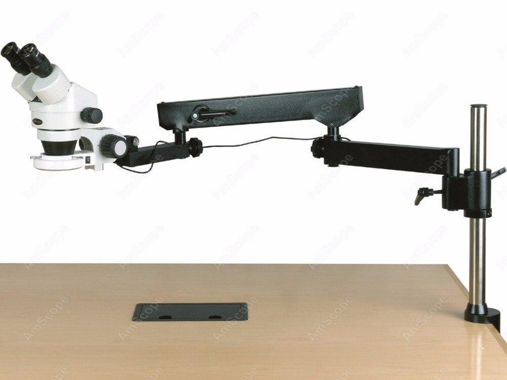 Bras articulé Microscope-AmScope Fournitures 3.5X-180X Binoculaire Bras Articulé Pilier Clamp 144-LED Zoom Stéréo Microscope