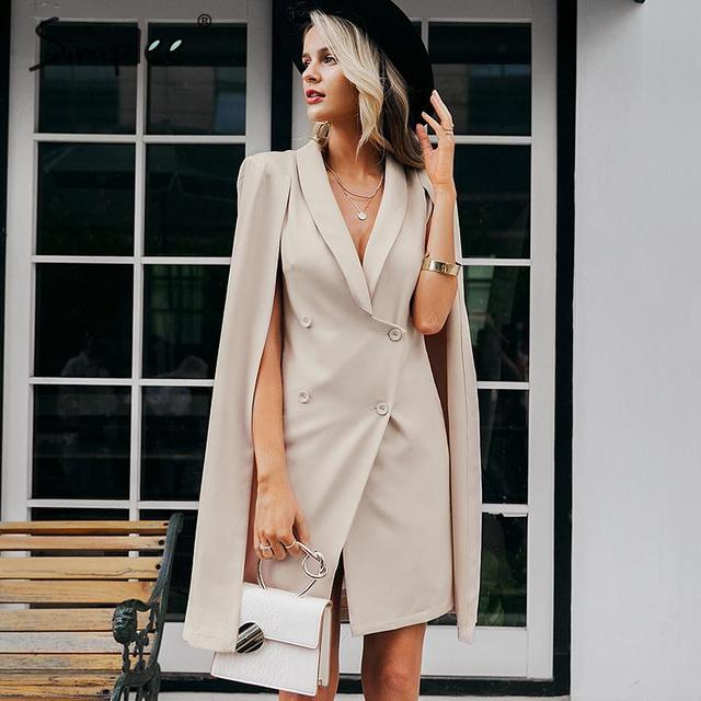Simplee Vintage cloak blazer women dress Office ladies v neck shawl sleeveless dress female Solid celebrity party dress vestidos 2