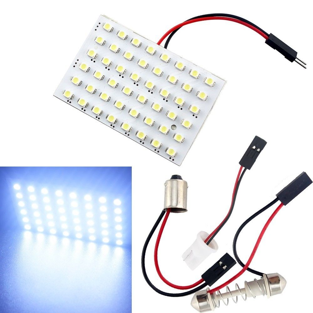 high power t10 w5w c5w c10w festoon 3 adapters 48led auto panel lamp reading lights car interior. Black Bedroom Furniture Sets. Home Design Ideas