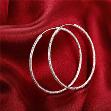 925 Silver Hoop Earrings for Women Big Circle Earring Fashion Silver Statement  Jewelry Party Accessories Pendiantes Brincos недорого
