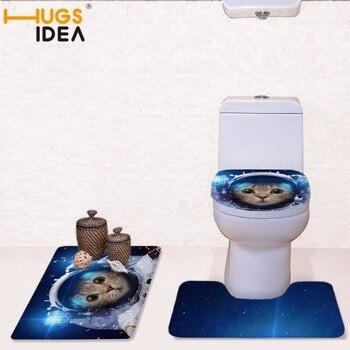 HUGSIDEA All For Bathroom Toilet Seat Cover Cat Astronaut Print Non-Slip Style Pedestal Rug + Lid Toilet Cover +Bath Mat Commode Туалет