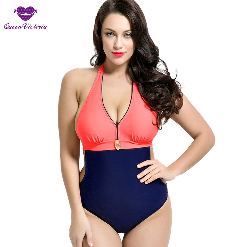 2016 NEW Girl's Woman Style One Pieces Swimwear Plus Size Large Cup DEF Halter Swimsuit Backless High Quality Beach Bathing suit one piece swimsuit cheap sexy bathing suits may beach girls plus size swimwear 2017 new korean shiny lace halter badpakken