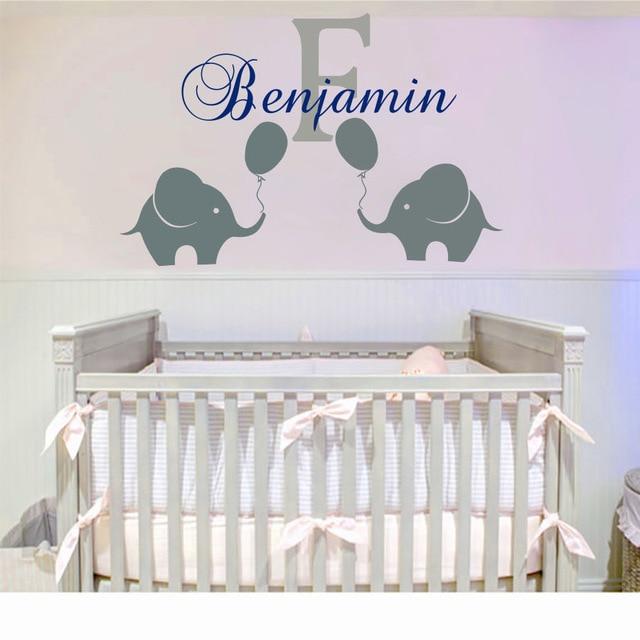 Custom made Personalized Name Elephant Wall Sticker Baby ...