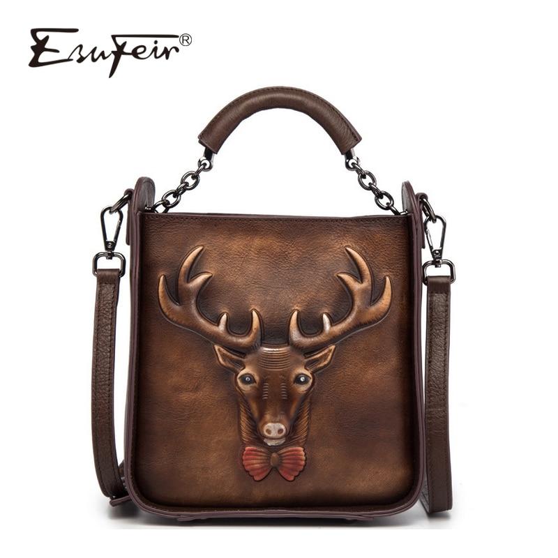 ESUFEIR 2018 Embossed Genuine Leather Women Handbag Vintage Shoulder Bag Messenger Bag Luxury Brand Fashion Stitching Bucket Bag