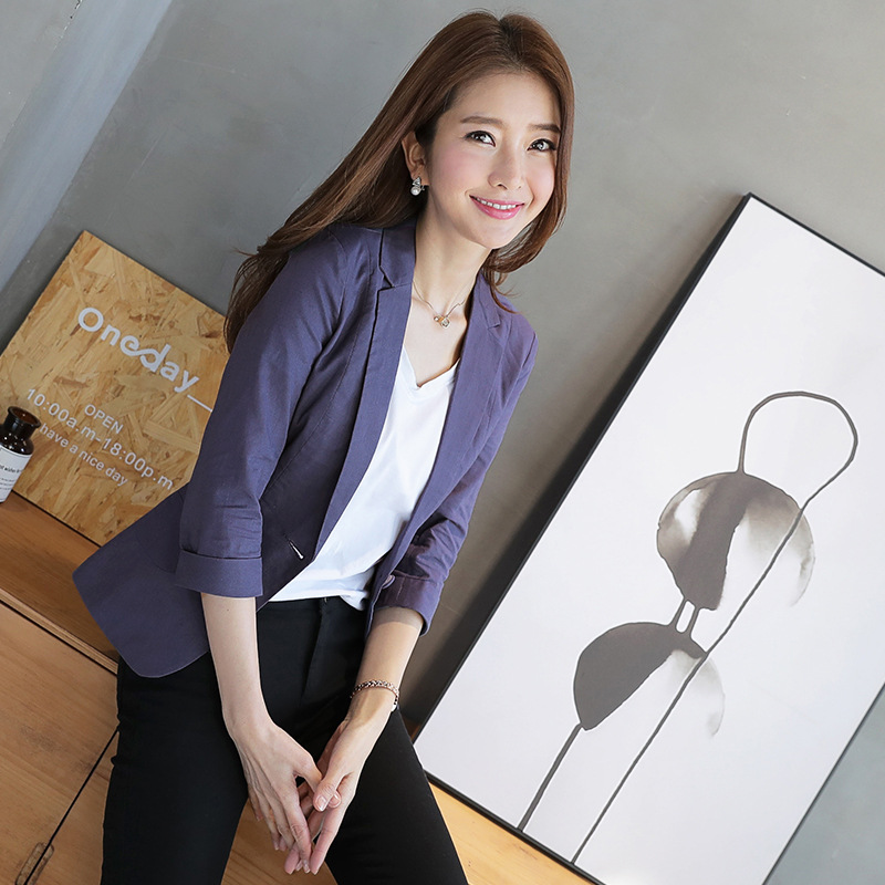 2018 New Spring Korean Leisure Suit Slim Women Ol Office Lady Cotton