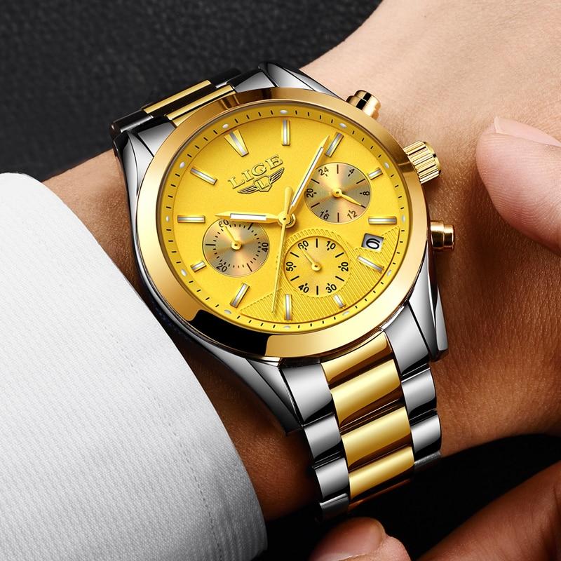 2018 NEW Men watch LIGE Luxury Brand Full steel Gold Quartz watches Men Military Waterproof Sport Man Casual Relogio Masculino стоимость
