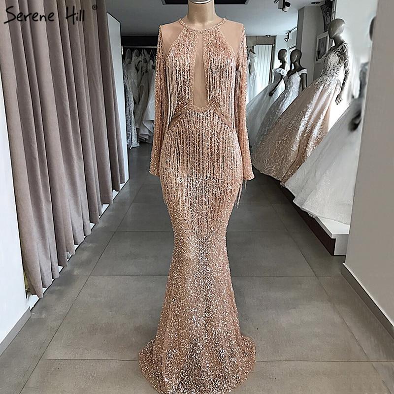 Rose Gold Mermaid Long Sleeve Evening Dresses 2019 Sequined Beading Tassel Luxury Evening Gowns Serene Hill LA70037