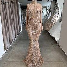 Rose Gold Mermaid Long Sleeve Evening Dresses 2020 Sequined Beading Tassel Luxury Formal Dress Serene Hill LA70037