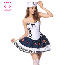 White/Blue Striped Navy Costume Cosplay Women Sailor Fancy Dress Halloween Sexy Costumes For Adults Carnival Party Fantasias