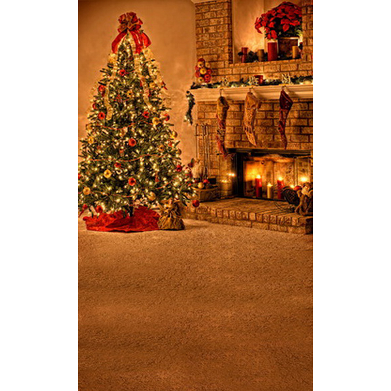 Christmas Tree Fireplace Backdrop Newborn Props Vinyl Photography Background Baby Wood Floor for Photo Studio L-800 200x400cm 7x14ft photo background studio vinyl backdrop screen digital printing newborn photography props f342