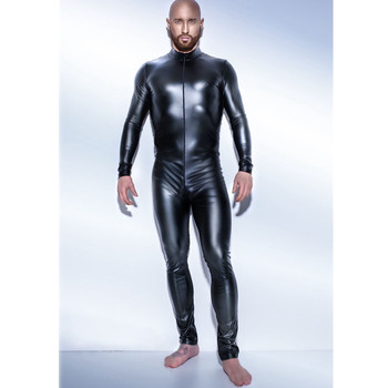 Men Sexy Wetlook Faux Leather Latex Catsuit Bodysuit Hot Erotic Lingerie zentai gay fetish Wear pvc costume Open Crotch Clubwear 2