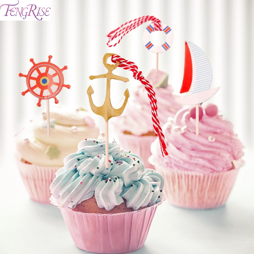 FENGRISE 48pcs Navy Anchor Sailor Cupcake Topper Shower Baby Boy Kids Favors Birthday Baptism Party Nautical Decor Supplies