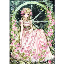 5D DIY round diamond painting cartoon cute girl embroidery cross stitch mosaic home decoration love gift