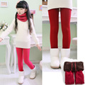 2-10  kid Autumn and winter with thick velvet Leggings Korean girls pure white girls dance pants nine double warm pants