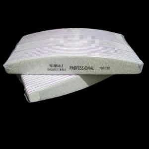 Image 5 - 50Pcs 100/180 Nail Art Sanding Sandpaper Nail Washable Nail File Semilune Banana Buffing Curved Professional Manicure Tools Set
